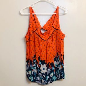 Bright flowy summer top, back cutout Anthropologie